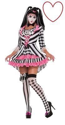 Damen Harlekin Ring Geliebte Hofnarr Halloween Kostüm Zirkusclown -