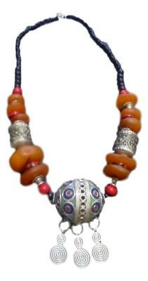 Handmade  Berber Moroccan Amber Coral Necklace