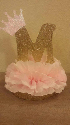 Princess Initial Gold Pink Table Decor Centerpiece Baby shower or Birthday party (Pink Centerpieces)