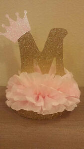 Princess Initial Gold Pink Table Decor Centerpiece Baby shower or Birthday party
