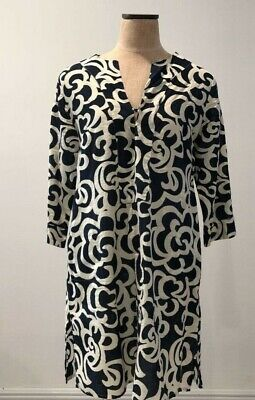 Le Sirenuse Womens Cozy Beach Dress Blue Abstract Notch Neck 3/4 Sleeves Slit L