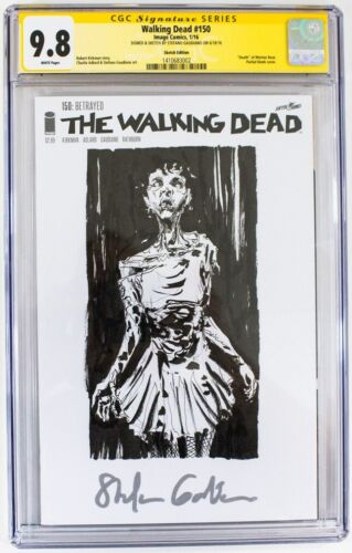 Walking Dead #150 CGC Graded 9.8 Stefano Gaudiano Sketch Cover Image Comics 1/16