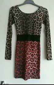 Topshop leopard print low back dress size 8