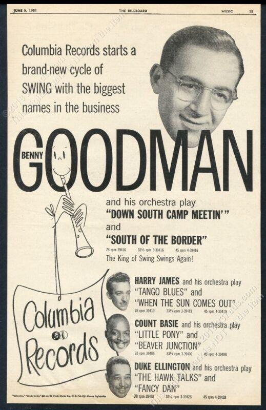 1951 Benny Goodman photo Columbia Records big vintage trade print ad