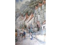 W Sands (T H Victor) large watercolour painting street scene Clovelly Devon signed