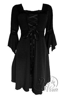 RENAISSANCE Gothic Victorian BLACK Corset Dress Size Jr Large -MSRP $83