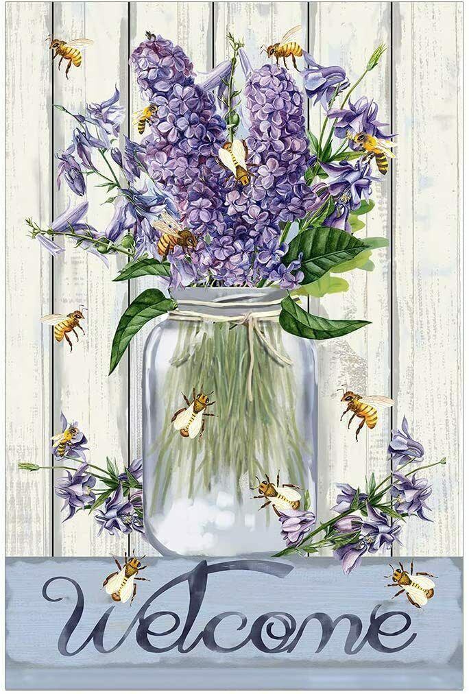 bees and flowers mason jar welcome spring