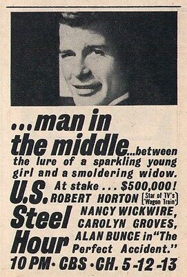 """1962 Tv Ad ~ Robert Horton in U.S.Steele Hour's """"The Perfect Accident"""""""