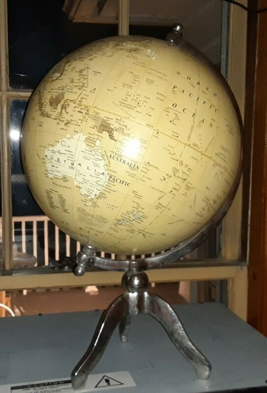 World Globe On Metal Base Modern