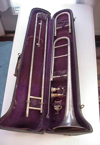 C.G. CONN Elkhart Ind. 5H SILVER-PLATED TENOR TROMBONE from Jazz Period