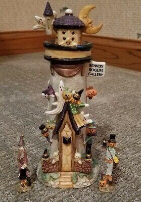 Vintage Ceramic Halloween Haunted Light House Light Up With Figurines
