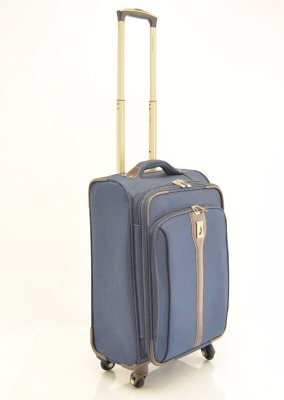 London Fog Wesminster 21'' Spinner Luggage Suitcase Navy Trolley Carry on - $280
