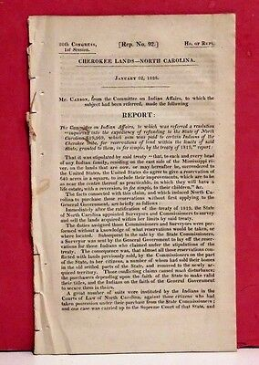 House Report-Taking of Land of Cherokee Indians in North Carolina-1828