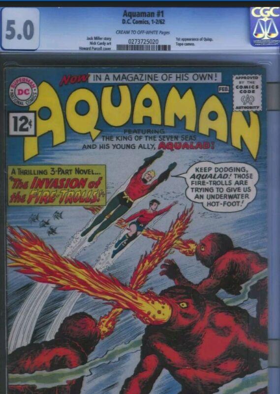 Aquaman #1 CGC 5.0 DC Comics Silver Age 1962