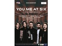 2 x You Me At Six Tickets - Keele SU - 7th June 2018
