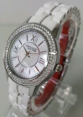 Anne Klein NY 12/2299SVST Stainless Steel Ceramic Watch & Bangle Set   **NEW**