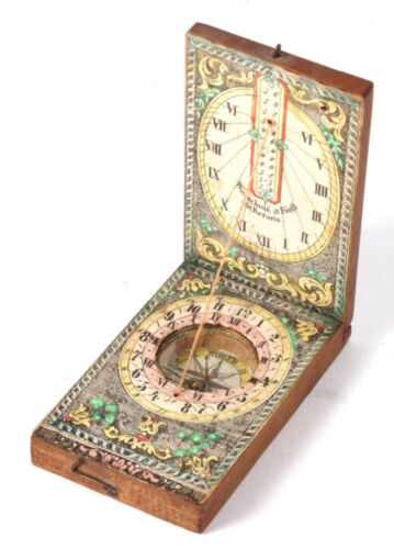 Antique German Diptych Sundial, Circa 1830.
