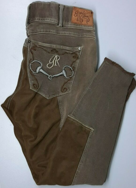 Goode Rider Equestrian Jeans Size 34L Brown Riding Pants Breeches EUC !