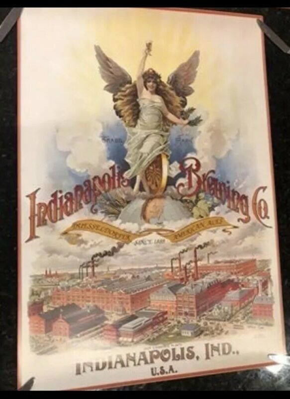 Indianapolis Brewing Company Beer Poster Print Lithograph, Vintage Repro Indiana