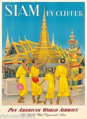 Siam Thailand Thai Siamese Clipper Asia Asian Travel Advertisement Art Poster