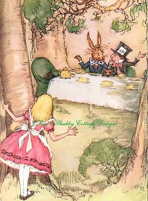 Alice In Wonderland Pink Tea Party Mad Hatter Rabbit Fabric Block 5x7 or 8x10 In - Rabbit In Alice In Wonderland