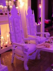 Pair of white royal lion throne chairs for hire!!! Only £150!!!! Local delivery included!!