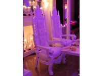 Pair of White Royal Throne Chairs for Hire!!£150!!