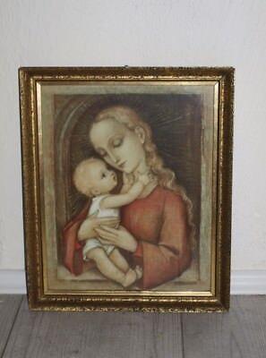 "Heiligenbild mit vergoldetem Rahmen "" Maria mit Kind "" - M.J. Hummel - antik"