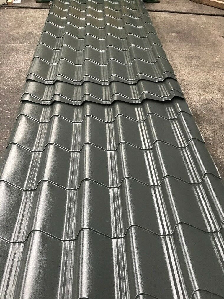 Tile Effect Roofing Sheets Slate Grey Polyester Other