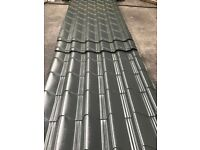 Tile effect roofing sheets, slate grey polyester, other colours available