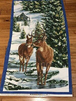 Winter Stillness Northwoods Deer & Cabin quilters cotton FLANNEL Fabric panel (Cabin Flannel)