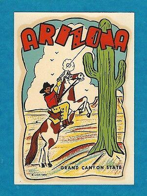 "VINTAGE ORIGINAL 1951 SOUVENIR ""ARIZONA"" GRAND CANYON STATE TRAVEL DECAL ART"