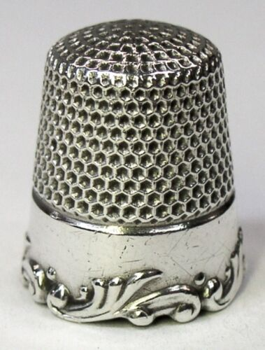 Antique Ketcham & McDougall Sterling Silver Thimble  Louis XV Rim  C 1890s