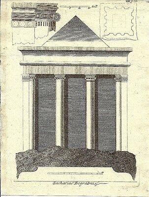 Antique engraving, Zachariae Begrabnis P VII