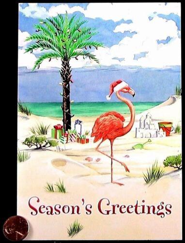 Cute Flamingo Beach Sand Ocean Santa Hat Presents - Christmas Greeting Card NEW