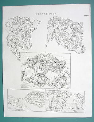COMPOSITION fir Artists Michelangelo Examples - 1820 Antique Print by A. Rees