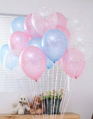 12 Star themed Blue Pink Clear Latex Balloons Summer Baby shower Birthday Party