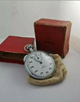 Vintage OMEGA Stopwatch Pocket Watch with original pouch and box