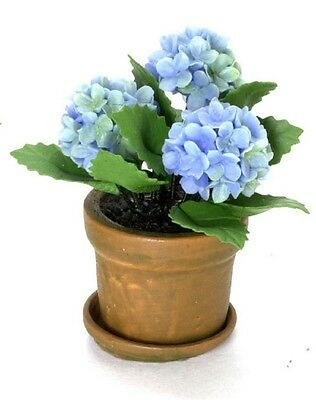 Dollhouse Miniature Blue Hydrangea Plant by Falcon Miniatures