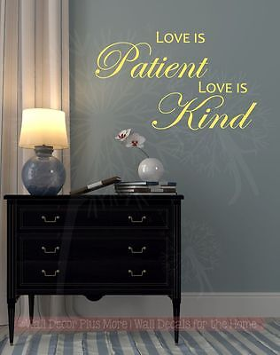 Bedroom Wall Decals Love Is Patient Love Is Kind Vinyl Lettering Stickers Quotes