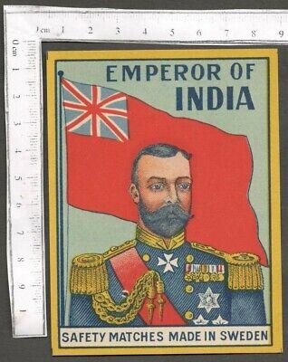 AOP EMPEROR OF INDIA vintage large packet size Matchbox Label