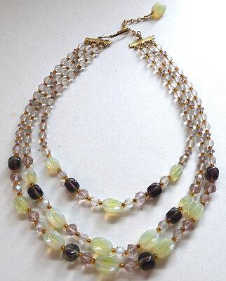 Vintage 1940s / 50s 3 Strand Vaseline Uranium Glass Bead Necklace