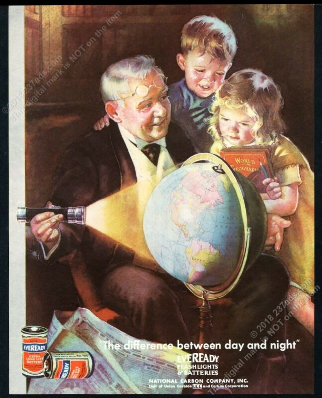 1935 globe & kids art Eveready flashlight batteries vintage print ad