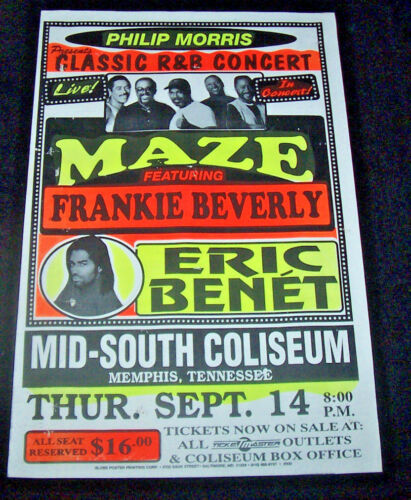 FRANKIE BEVERLY & MAZE ORIGNAL GLOBE BOXING STYLE CONCERT POSTER