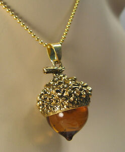 AMBAR GLASS ACORN NECKLACE PENDANT ANTIQUE GOLD WITH LONG CHAIN