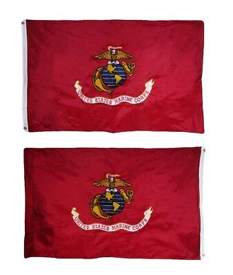 2x3 Embroidered Sewn USMC Marine Corps Dark Globe 210D Nylon Double Sided Flag