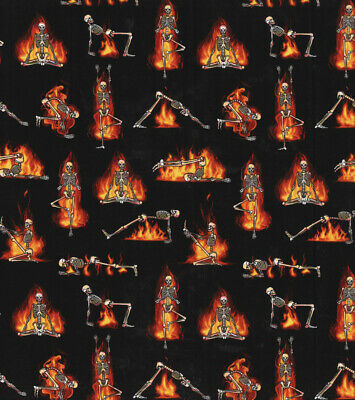 Skeleton Hot Yoga Halloween 100% Cotton Fabric By the Yard-New
