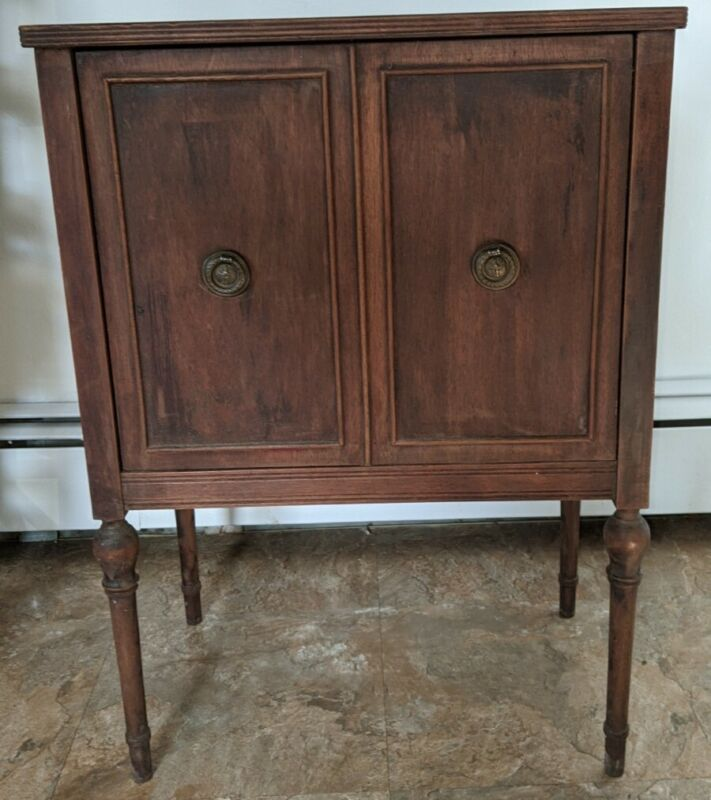 Vintage Sewing Wood Cabinet Table Revolving Door for Thread Notions Crafts NICE!