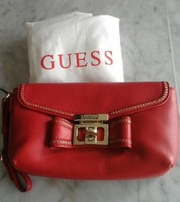 pochette sac cuir rouge guess