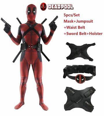 Deadpool Costumes Full Suit Jumpsuit Mask Belt Accessories For Adult & Kids  (Deadpool Suit)